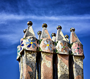 Sentinels Prints - Casa Batllo Rooftop - Barcelona Spain Print by Jon Berghoff