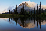 Cascade Mountains Posters - Cascade Mirror Poster by Mike  Dawson