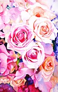 Roses Paintings - Cascade by Sarah Bent