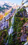 Turning Leaves Prints - Cascade Waterfall at Mt Timpanogos Utah Print by Edward Pollick
