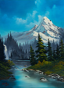 Mountain Pine Tree Painting Framed Prints - Cascading Falls Framed Print by C Steele