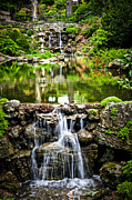 Serene Prints - Cascading waterfall and pond Print by Elena Elisseeva