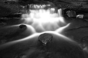 White River Scene Prints - Cascading Waterfall Black and White Print by John Stephens