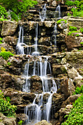 Water Fall Posters - Cascading waterfall Poster by Elena Elisseeva