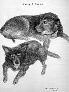 Dogs Drawings - Casey and Sheba by Al Intindola