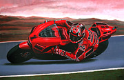 Athlete Paintings - Casey Stoner on Ducati by Paul  Meijering