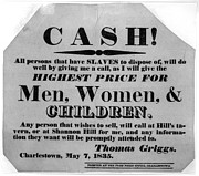 Slavery Metal Prints - CASH for SLAVES NOTICE  1835 Metal Print by Daniel Hagerman