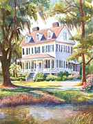 Charleston Houses Paintings - Cassina Point Edisto Island SC by Alice Grimsley