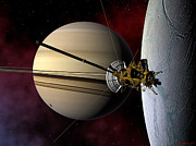 Enceladus Digital Art - Cassini probe passing Enceladus by David Robinson