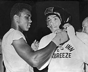 Famous Athletes Prints - Cassius Clay And Johansson Print by Underwood Archives