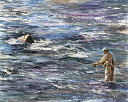 Flyfishing Painting Originals - Cast Your Cares by Ted Head