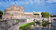 White River Scene Framed Prints - Castel Sant Angelo Framed Print by Joan Carroll