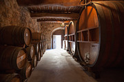 Wine Vault Prints - Castelle Di Amorosa Barrel Room Print by Scott Campbell
