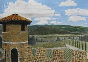 Vineyard Landscape Drawings Prints - Castello di Amorosa Print by Steve Keller
