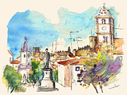 Town Square Drawings Prints - Castelo de Vide in Portugal 03 Print by Miki De Goodaboom