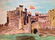 Middle Ages Drawings Prints - Castillo de Ponferrada Print by Asuncion Purnell