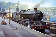 Railroad Paintings - Castle at Kingswear 1957 by Mike  Jeffries