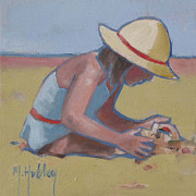 Playing Painting Originals - Castle Builder Beach sand castle by Mary Hubley