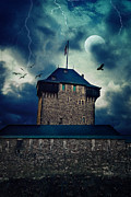 Creepy Mixed Media Metal Prints - Castle Burg Metal Print by Angela Doelling AD DESIGN Photo and PhotoArt