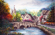 Kinkade Framed Prints - Castle Combe Framed Print by Ann Marie Bone