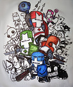 Marker Art Prints - Castle Crashers Print by Julie Farnsworth