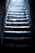 Stone Steps Framed Prints - Castle Dungeon Steps Framed Print by Georgia Fowler
