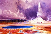 Yellowstone Paintings - Castle Geyser - Yellowstone by Pg Reproductions