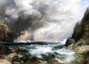 Waves Paintings - Castle in Scotland by Thomas Moran