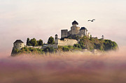 Foggy Day Digital Art Prints - Castle in the air III. - Trencin Castle Print by Martin Dzurjanik