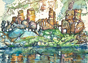 Dreamscape Mixed Media Metal Prints - Castle in the Air Metal Print by Patricia Allingham Carlson