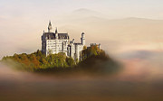 Foggy Day Digital Art Prints - Castle in the air VI. - Neuschwanstein Castle Print by Martin Dzurjanik