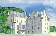 Brick Building Painting Framed Prints - Castle Menzies Framed Print by David Herbert
