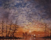 Sunset On The Lake Prints - Castle on the Lake Print by Tom Shropshire