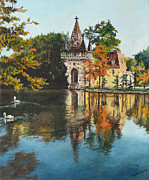 Water Reflections Paintings - Castle on the Water by Mary Ellen Anderson