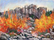 Etc. Pastels Prints - Castle Rock Print by Bruce Schrader