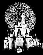 Magic Kingdom Photos - Castle Show Black and White by Benjamin Yeager