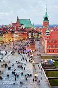 Christmas Holiday Scenery Art - Castle Square in the Old Town of Warsaw by Artur Bogacki