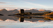 Winter Sunset Posters - Castle Stalker - Sunset Poster by Pat Speirs