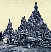 Sandcastles Prints - Castles On The Beach Print by Keith Dillon