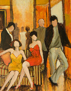 Crowds Painting Originals - Casual Encounters by Jennifer Croom
