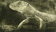 Reptiles Drawings - casual meeting Reptile Viviparous Lizard  Lacerta vivipara by Urft Valley Art