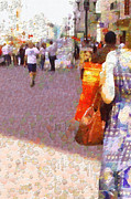 Moscow Paintings - Casual Moscow painting series. Arbat daily by Magomed Magomedagaev