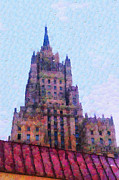 Moscow Paintings - Casual Moscow painting series. High-rise building at Smolenskaya by Magomed Magomedagaev