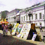 Moscow Paintings - Casual Moscow painting series. Paintings exhibition at Arbat by Magomed Magomedagaev
