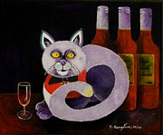 Red Wine Prints Posters - Cat-alcoholic Bar Cat Poster by Sandra Sengstock-Miller
