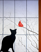 Cardinal Mixed Media Framed Prints - Cat and Cardinal Framed Print by Karyn Robinson