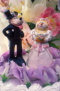 Figurines Framed Prints - Cat and dog bride and groom Framed Print by Garry Gay