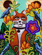 Fineart Paintings - Cat and Four Birds by Genevieve Esson
