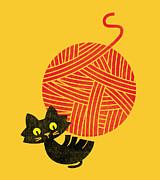 Cat And Giant Yarn Ball Print by Budi Satria Kwan