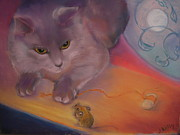 Cat And Moon Paintings - Cat And Mouse by Jill Kelly